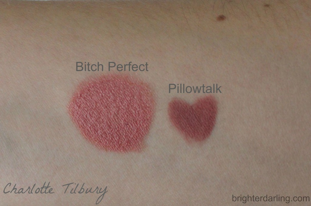 Charlotte Tilbury Bitch Perfect and Pillowtalk Swatches