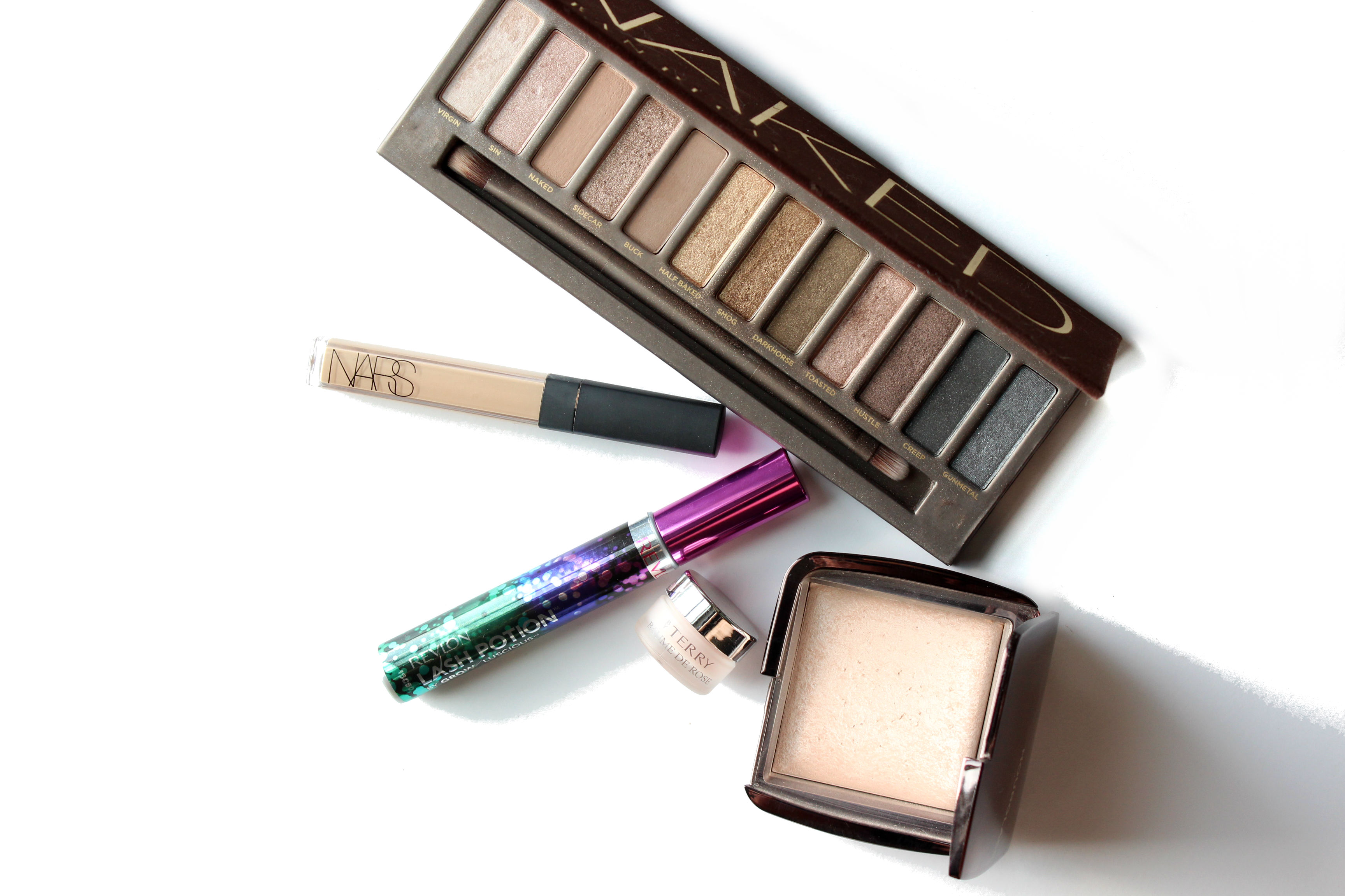September 2015 Makeup Beauty Favorites Urban Decay Naked NARS Radiant Creamy Concealer Revlon Lash Potion byTerry Baume de Rose Hourglass Ambient Lighting Powder Luminous Light Brighterdarling.com