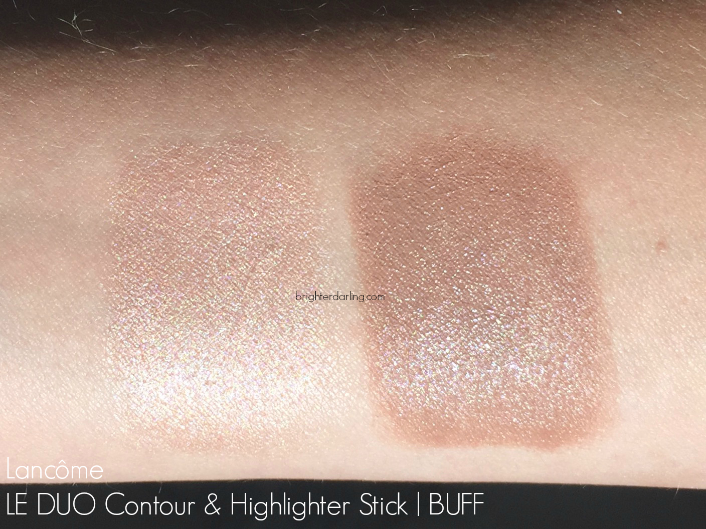 Lancome Le Duo Contour Highlighter Buff Swatches #brighterdarling.com
