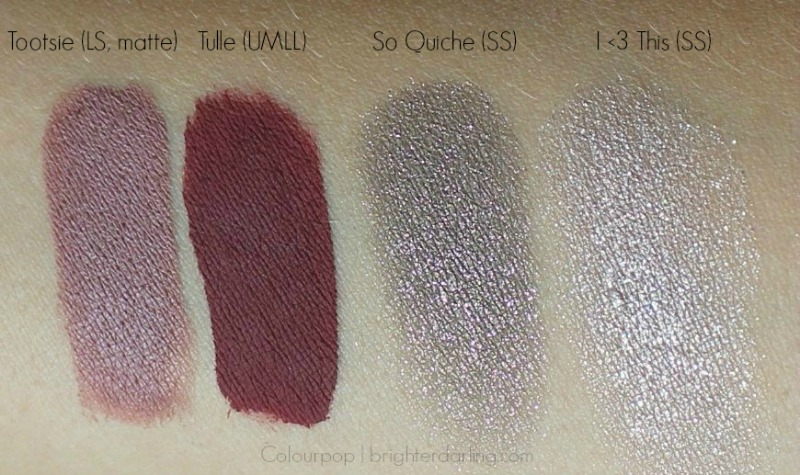 ColourPop swatches: Tootsi Tulle So Quiche I Heart This