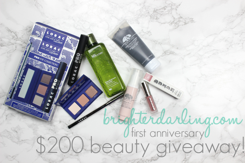 Celebrating my blog's first anniversary with a $200 value of beauty goodies from Lorac, Origins and Buxom.