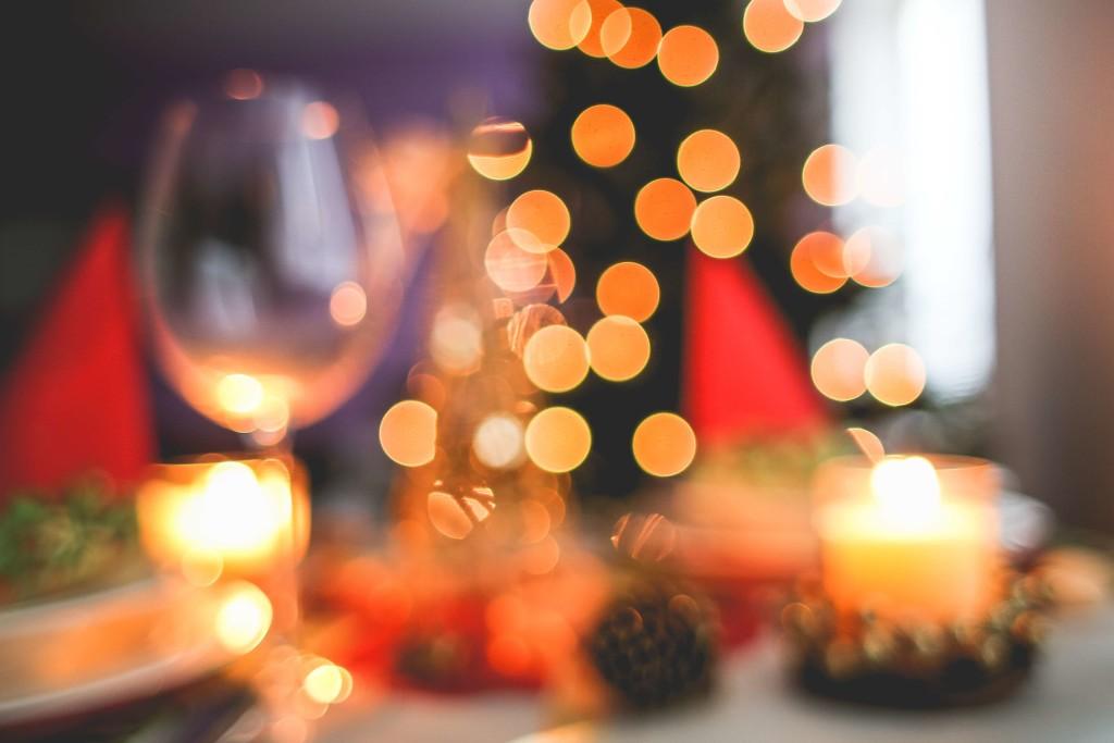 Christmas Tree Bokeh Wine Glass