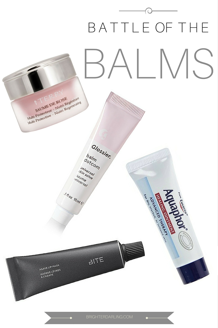best lip balm for dry lips, lip balm battle, by Terry baume de rose, aquaphor, glossier balm dot com, bite beauty agave lip mask