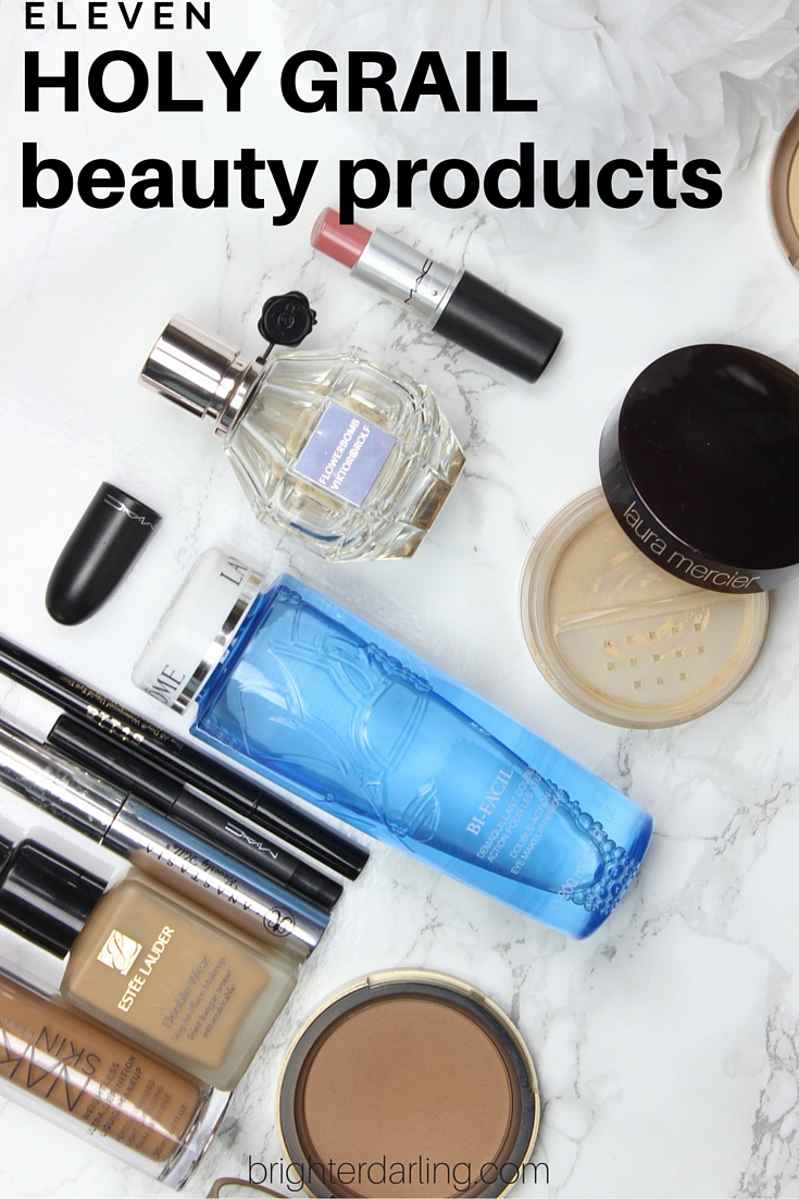 My 11 top holy grail beauty products that I've repurchased over and over again! Tried and true from foundations to bronzer, makeup remover to perfume - covering it all on brighterdarling.com.
