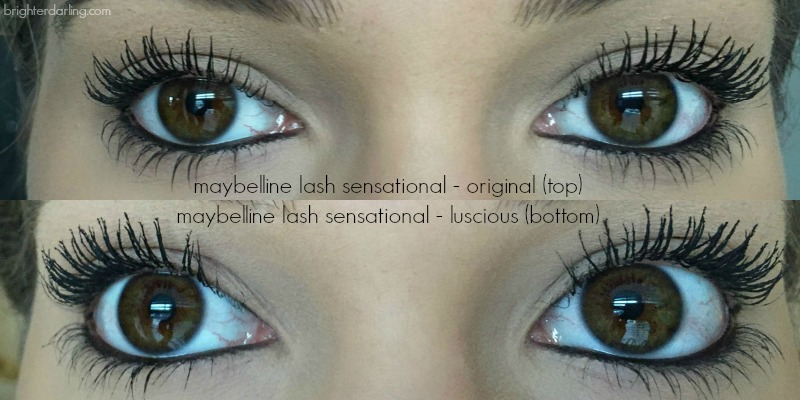 maybelline lash sensational original vs lash sensational luscious comparison on lashes