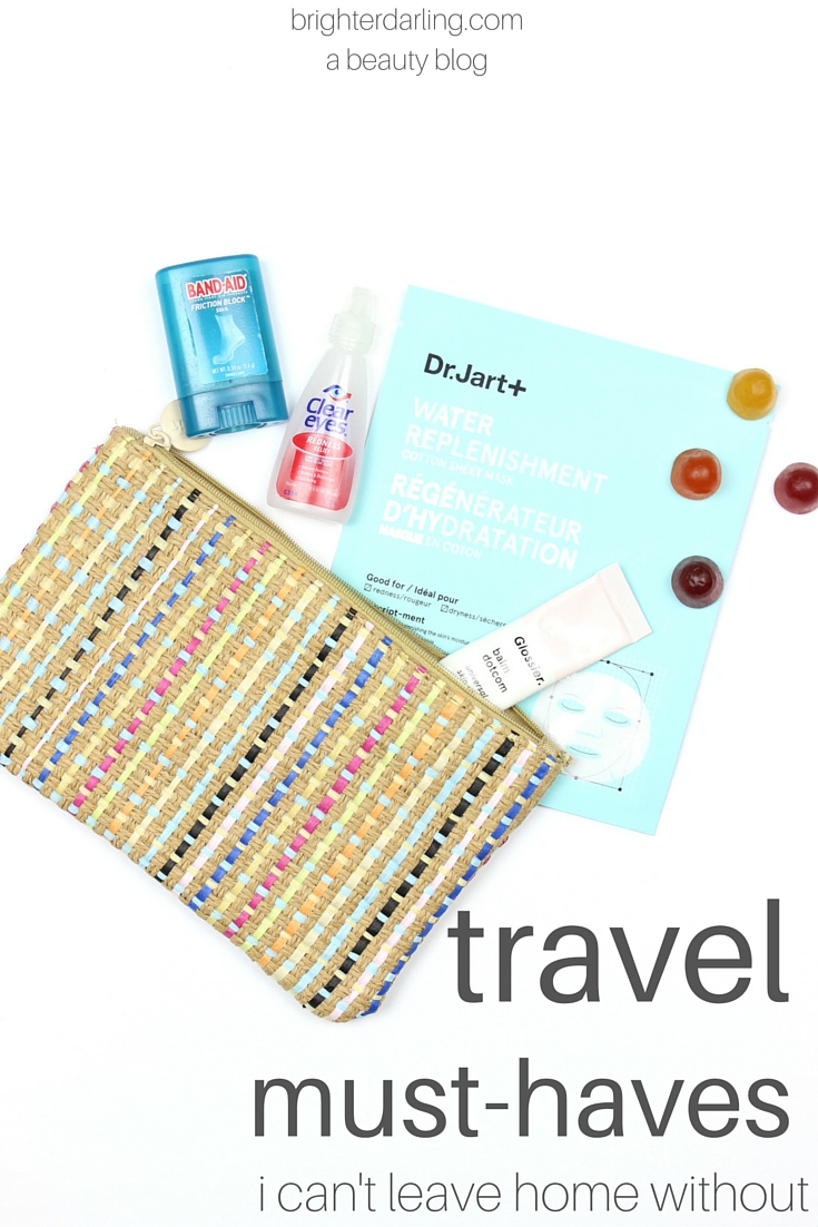 5 Travel Must Haves I can't leave home without - from dry skin, eyes and blistered feet to tummy troubles - this list has you covered for your next trip no matter where you're going. brighterdarling.com #brighterdarling