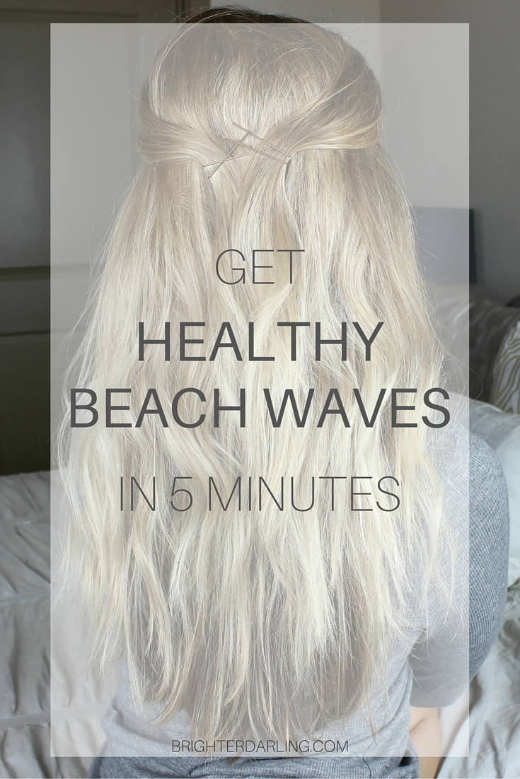 Get healthy and shiny beachy waves in 5 minutes with minimal heat using my quick technique on brighterdarling.com.