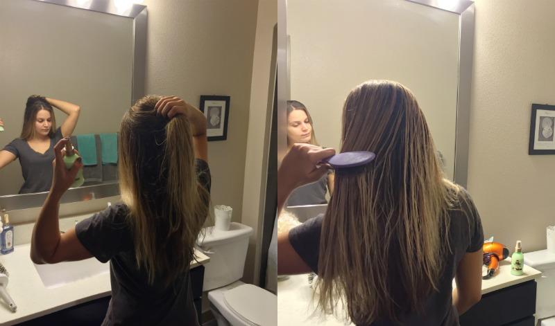 garnier whole blends refreshing hair care line wet hair brushing in front of bathroom mirror