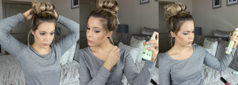 Messy bun hair tutorial step 1 on brighterdarling.com
