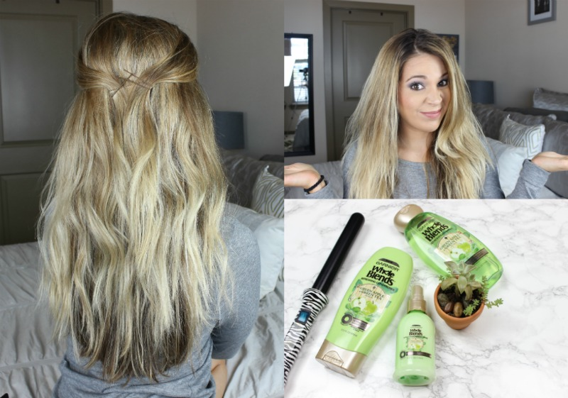 quick beachy waves tutorial with garnier whole blends refreshing hair care on brighterdarling.com