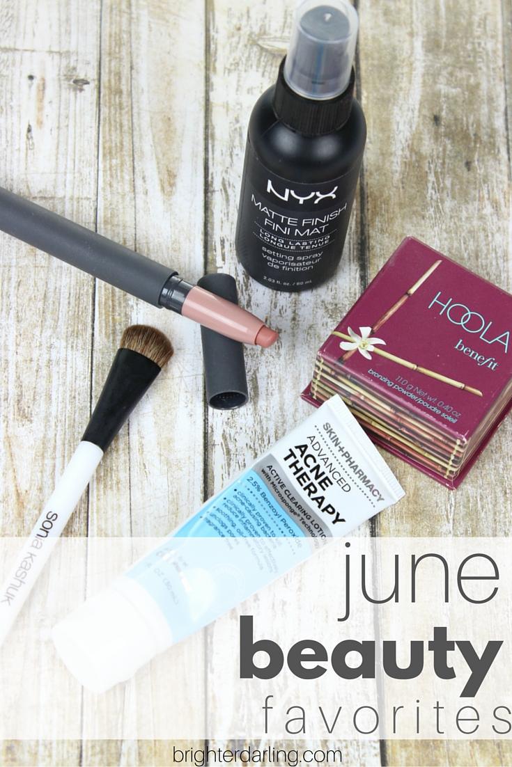 June 2016 Beauty Favorites | NYX Matte Makeup Setting Spray, Bite Beauty Leche, Hoola Bronzer, Sonia Kashuk Large Shader Brush, Skin + Pharmacy 2.5% Benzoyl Peroxide | #BrighterDarling