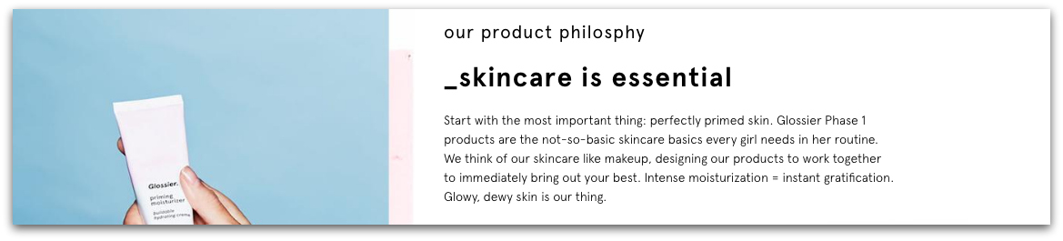 glossier product philosophy snapshot