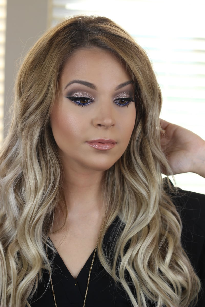 Drugstore Super Glam NYE Makeup | Revlon Eye Art Topaz Twinkle | Luxy Hair Ash Blonde 220g