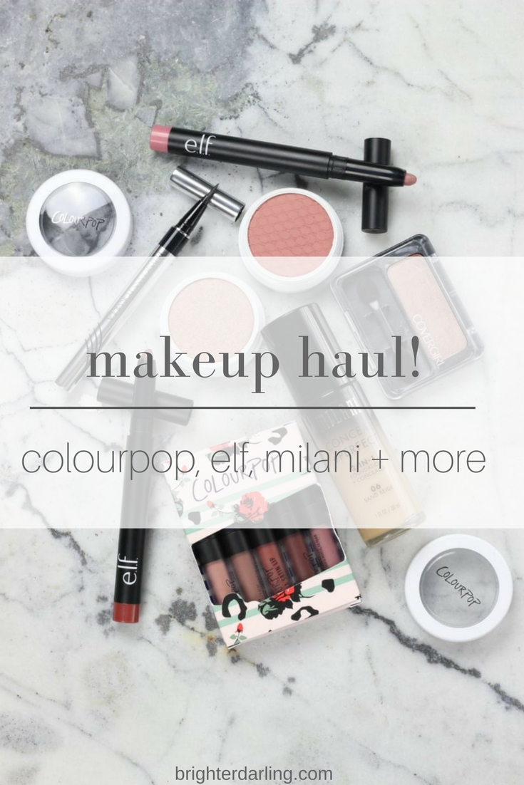 affordable makeup haul - colourpop ultra satin lip, blush, highlighter, milani foundation, elf matte lip color and more