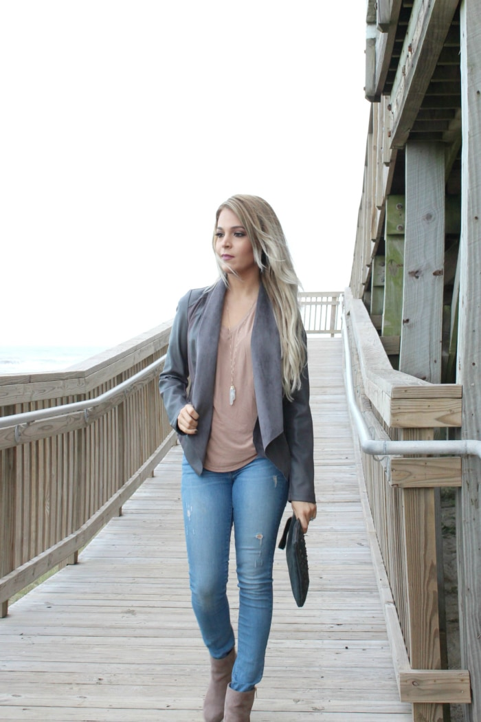 Walking at Galveston Beach in my easy go to winter outfit | nude suede booties | grey faux leather jacket