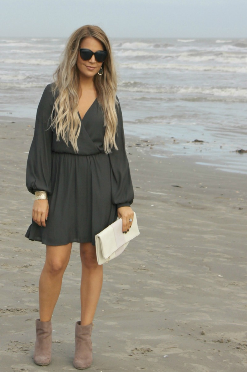 LUSH 'EMMA' SURPLICE SKATER DRESS on Beauty Blogger Brighter Darling   long sleeved dresses for spring