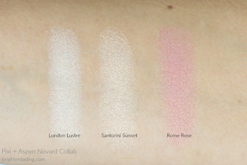 Pixi and Aspyn Ovard Highlighter Swatches | London Lustre, Santorini Sunset, Rome Rose on NC35 Medium Olive Skin