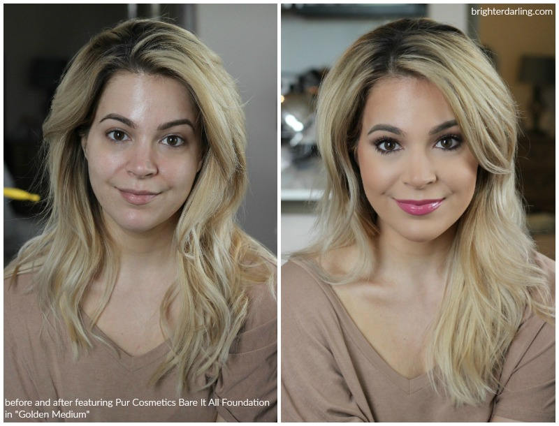 Before and After Pur Cosmetics Bare It All Foundation in Golden Medium