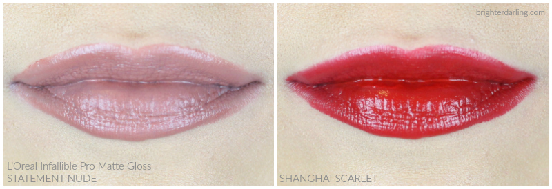L'Oréal Infallible Pro Matte Gloss in Statement Nude and Shanghai Scarlet | L'Oréal Lip Color