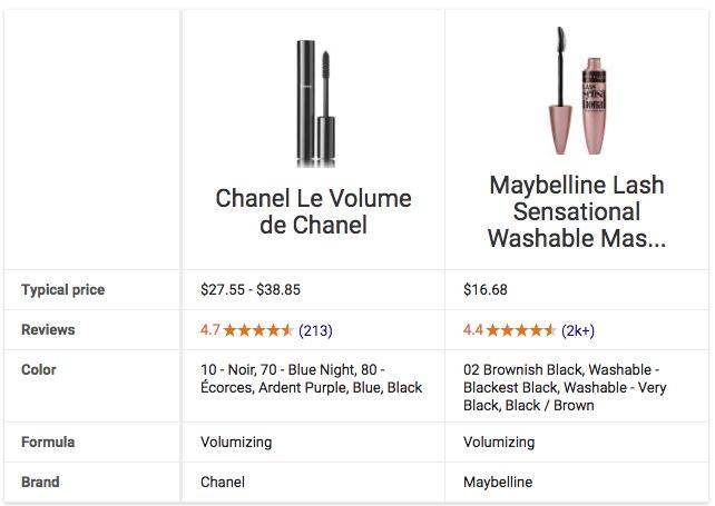 Chanel Le Volume de Chanel vs Maybelline Lash Sensational Google Comparison