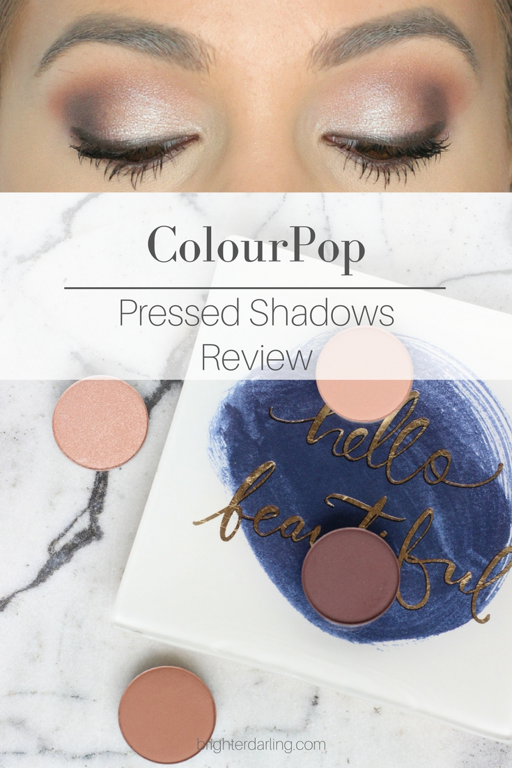 ColourPop Pressed Powder Shadows Review and Makeup Look - Wake Up Call, Conundrum, Ringer, Cloud Nine Swatches