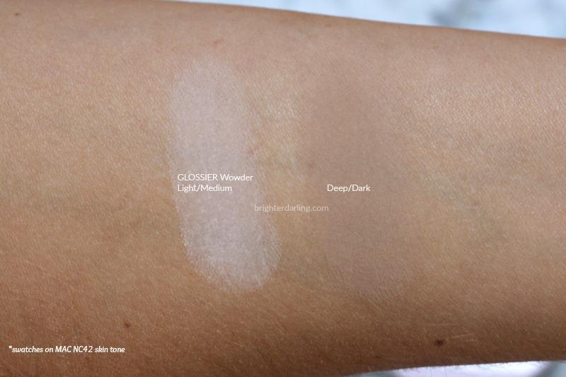 Glossier Wowder Swatches of Light Medium and Deep Dark