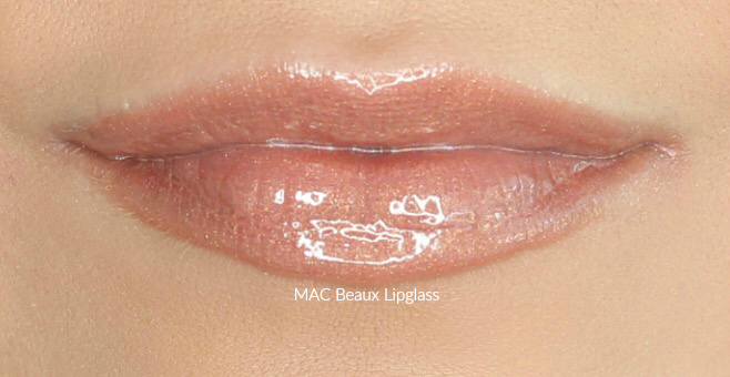 MAC Beaux Lipglass Swatch on Medium Skin