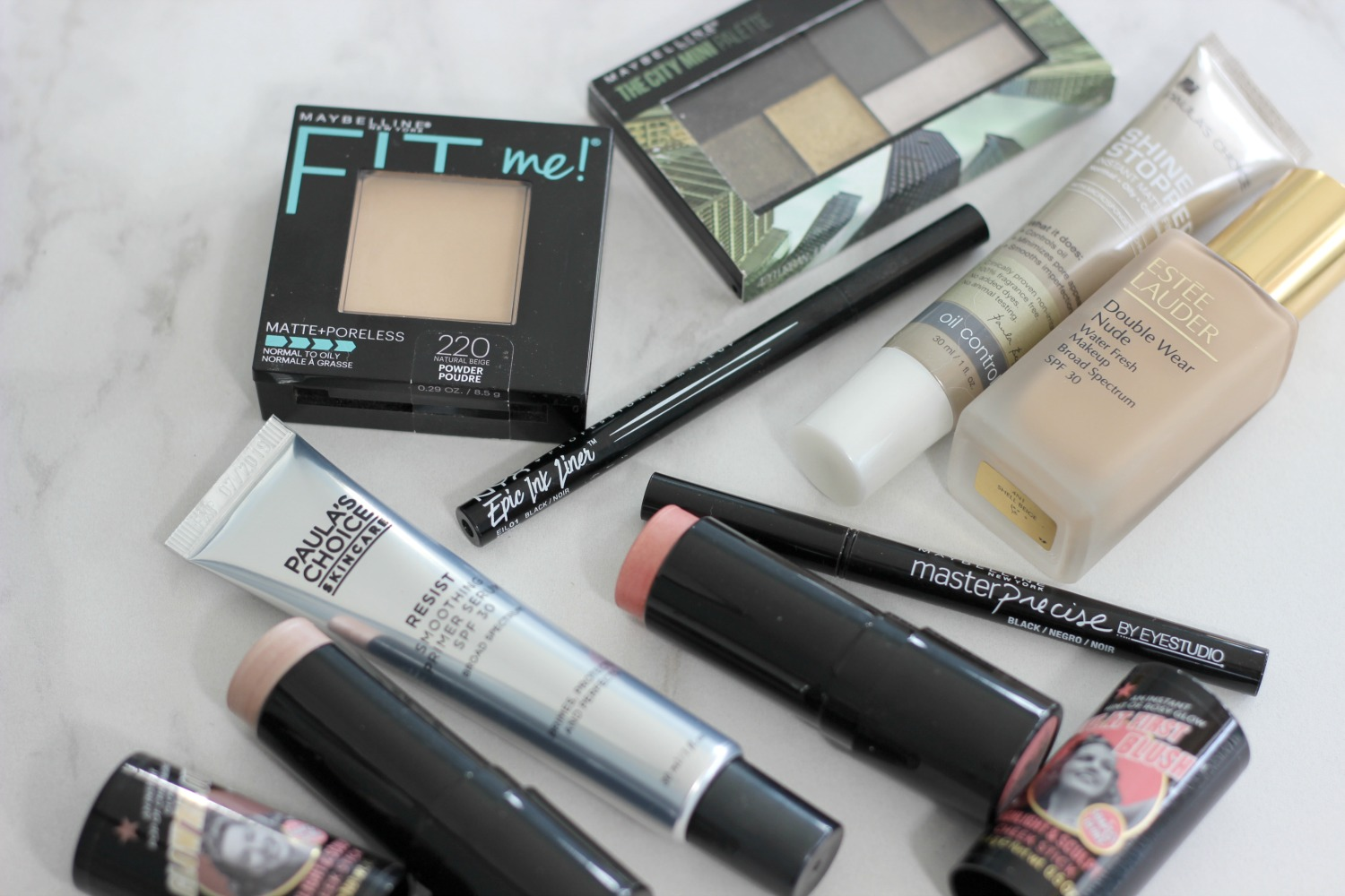 new beauty products i'm currently testing from Maybelline, NYX, Paula's Choice, Soap and Glory and Estee Lauder