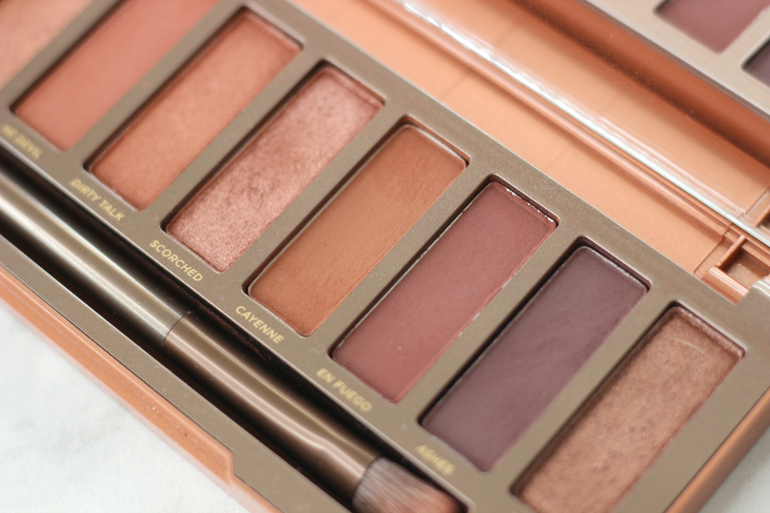 Urban Decay Naked Heat Review and Tutorial for Brown Eyes   Close Up of Darker Shades Urban Decay Naked Heat