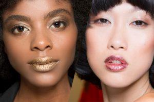 metallic lips trend Etienne Aigner Spring 2017 | Save vs Splurge Beauty Trends Fall 2017