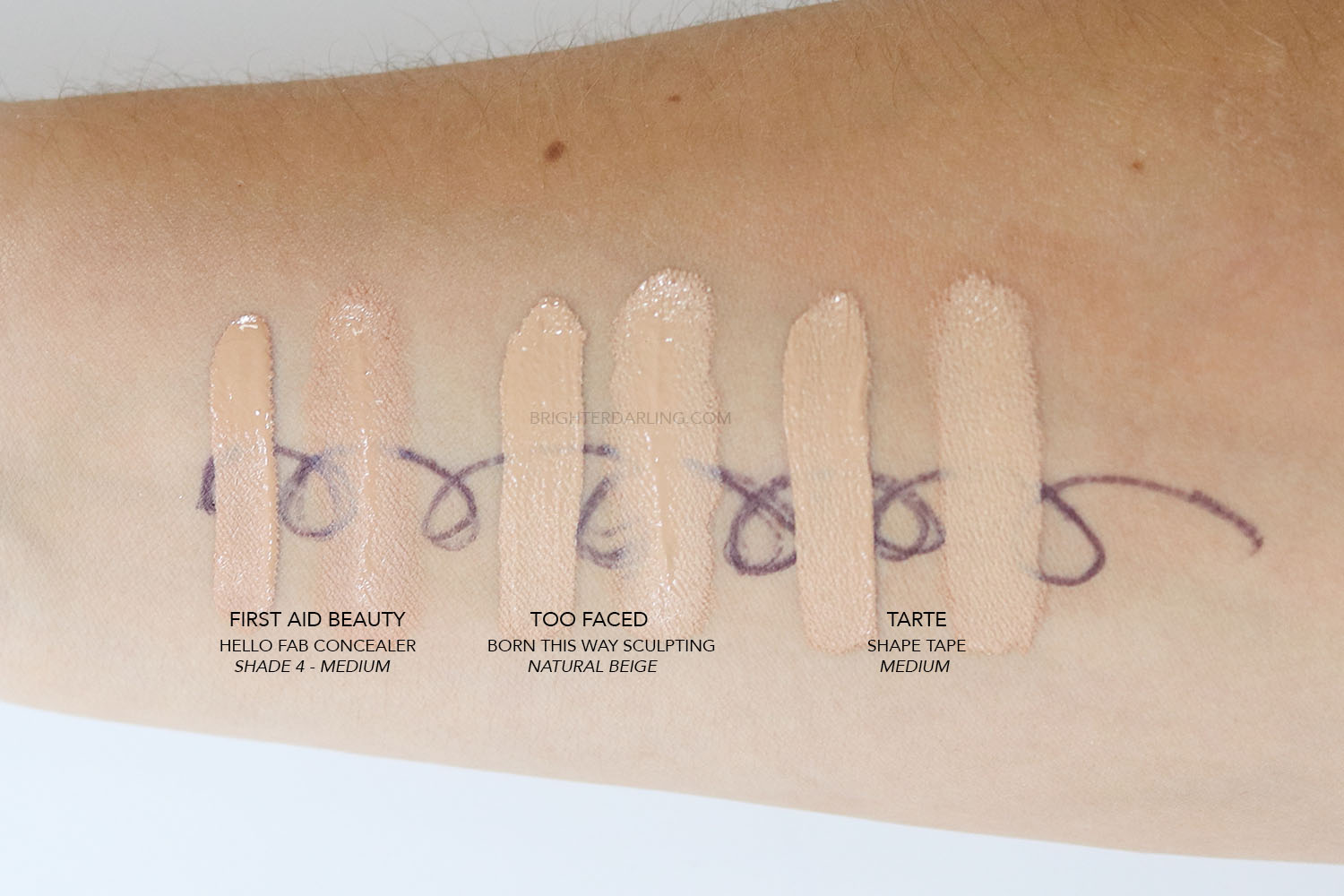 First Aid Beauty Hello FAB Bendy Avocado Concealer Swatch Compared to Too Faced Born This Way Sculpting Concealer Compared to Tarte Shape Tape
