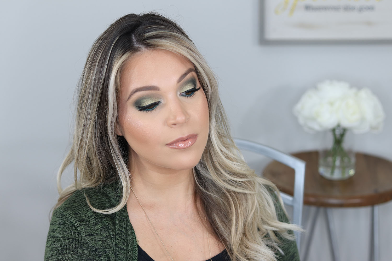 Makeup Revolution The Emily Edit The Wants Palette Green Eye Makeup Look on Brown Eyes