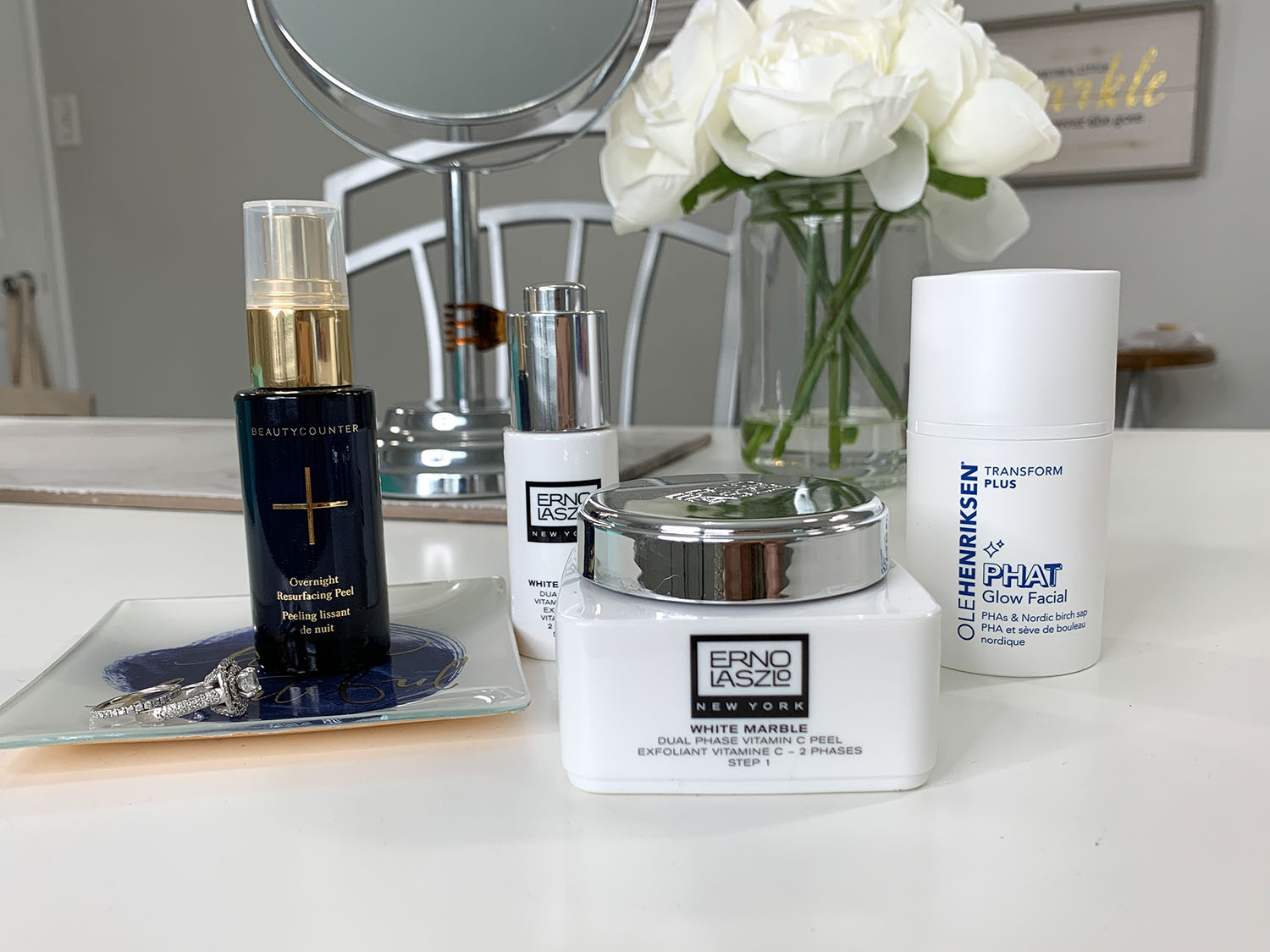 Currently Testing... Skin Care For Dull, Tired Skin   Beautycounter Overnight Resurfacing Peel, Ole Henriksen PHAT Facial, Erno Laszlo White Marble Dual Phase