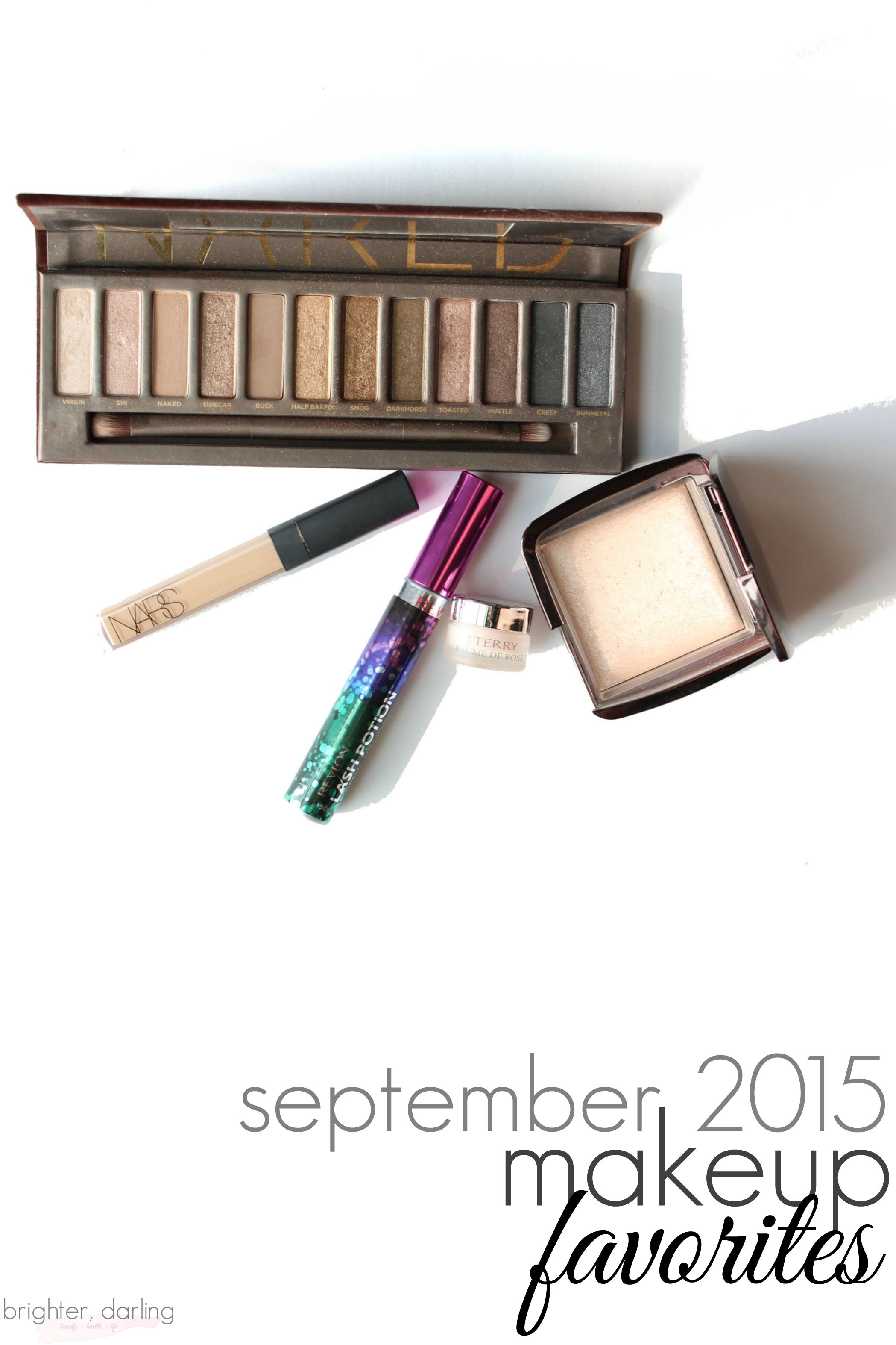 September 2015 Makeup Beauty Favorites Urban Decay Naked NARS Radiant Custard Revlon Lash Potion byTerry Hourglass Luminous Light
