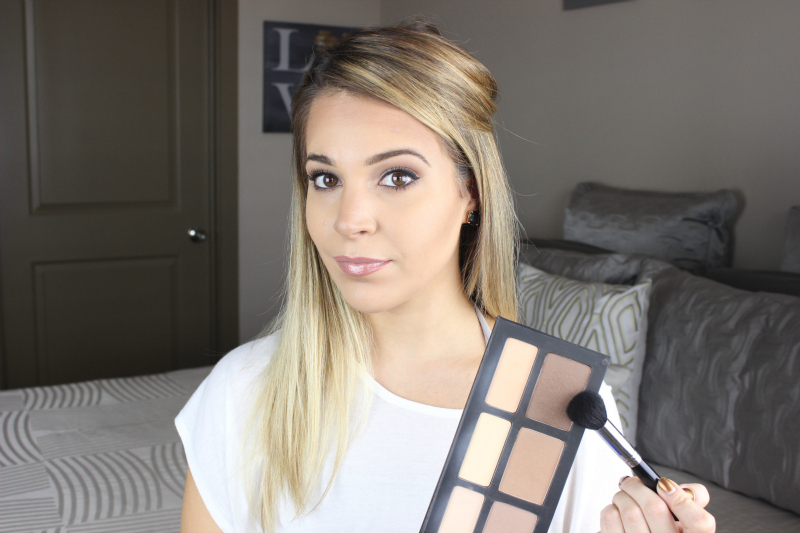 Apply the dark contour shade from the Kat Von D Shade Light Contour Palette