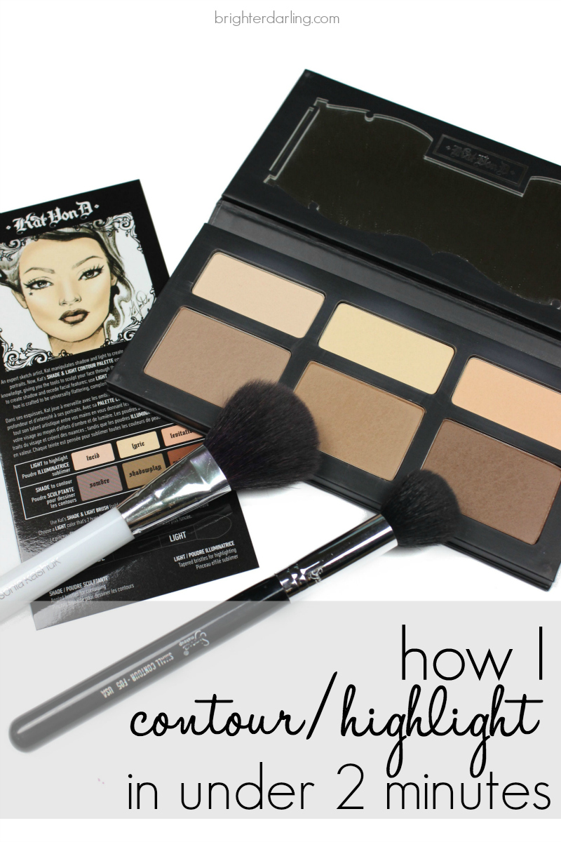 I've nailed down an under two-minute contour/highlight routine that looks flawless and lasts all day with the Kat Von D palette (BONUS: doubles as an eyeshadow palette)!