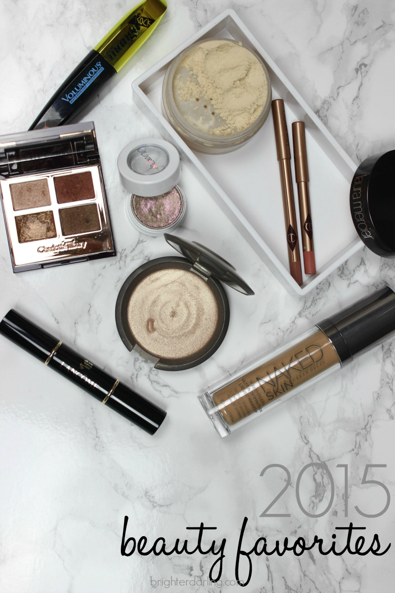 2015 Beauty Favorites for eyes, lips, hair, face featuring Charlotte Tilbury Dolce Vita, Iconic Nude, Pillow Talk, Laura Mercier Translucent Loose Setting Powder, ColourPop So Quiche, Urban Decay Naked Skin Foundation, Becca Opal and Lancome Le Duo contour/highlight stick!