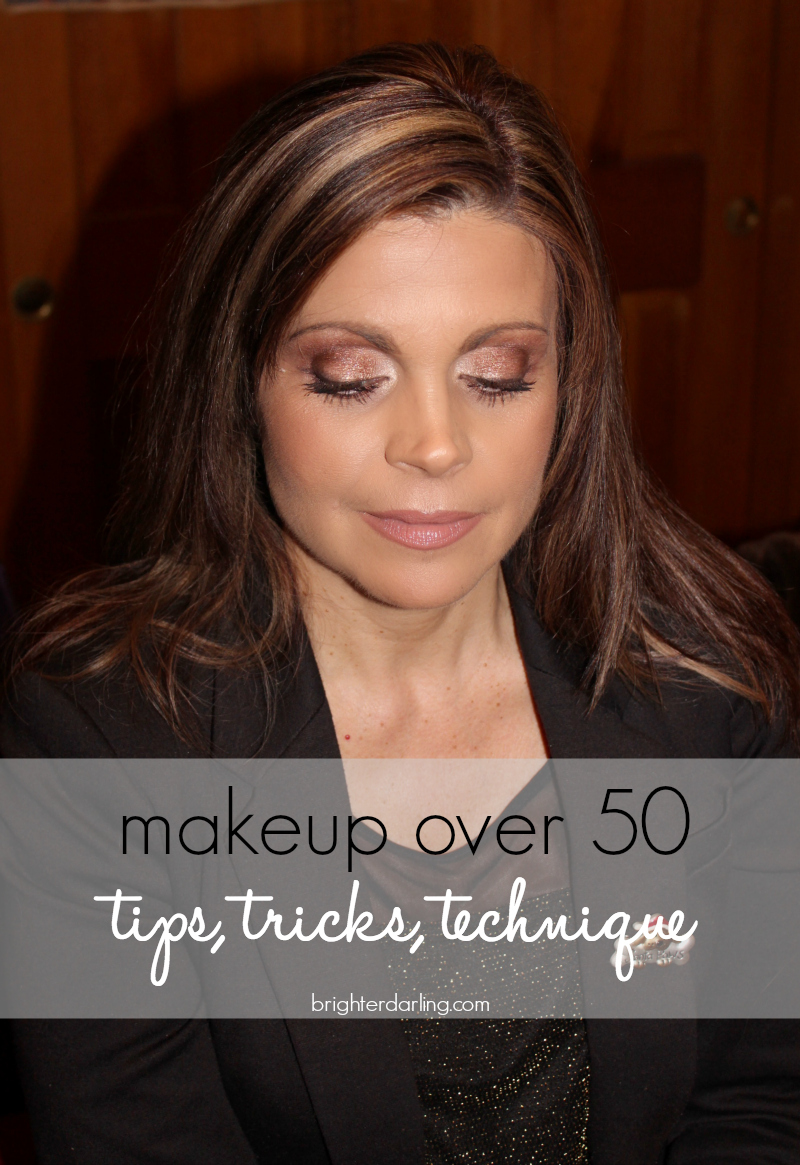Makeup tips for women over 50 with a complete listing of products used to get the look including Charlotte Tilbury Dolce Vita, MAC Velvet Teddy, MAC Melba, Buxom Hot Toddy