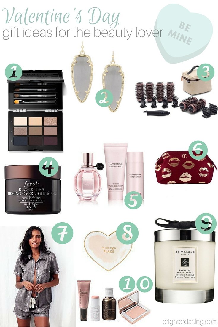 Valentine's Day Beauty Gift Guide with items ranging from $20-200 for all budgets on brighterdarling.com. I've either been lusting after these items myself, or they're favorites of my own from Bobbi Brown, Kendra Scott, Amika, Charlotte Tilbury, Fresh, Victor and Rolf, Victoria's Secret, Kate Spade and Jo Malone!