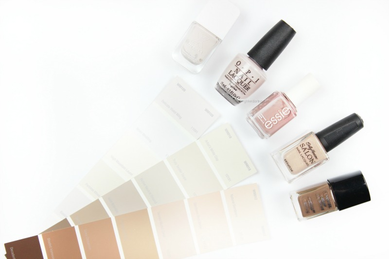 five favorite winter neutral nail polishes in greige taupe shades next to paint swatch cards