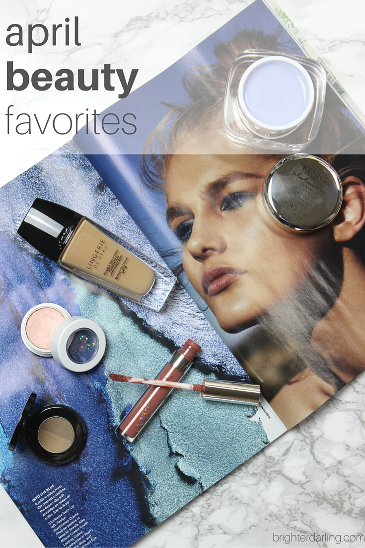 April Beauty Favorites from Guerlain Lingerie de Peau, Colourpop Echo Park, ColourPop Puppy Love, Anastasia Beverly Hills Brow Powder Duo in Taupe and Kenra Platinum Texturizing Taffy on brighterdarling.com