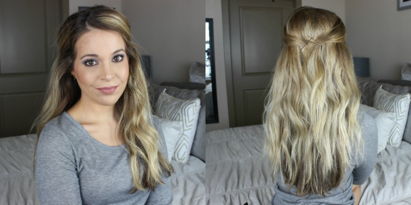 half up hair tutorial beachy waves step 2 on brighterdarling.com