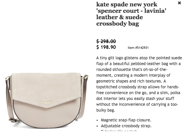 Kate Spade Crossbody Bag $298 for $198