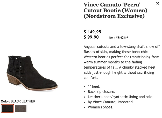 Vince Camuto Cutout Bootie $149 for $99