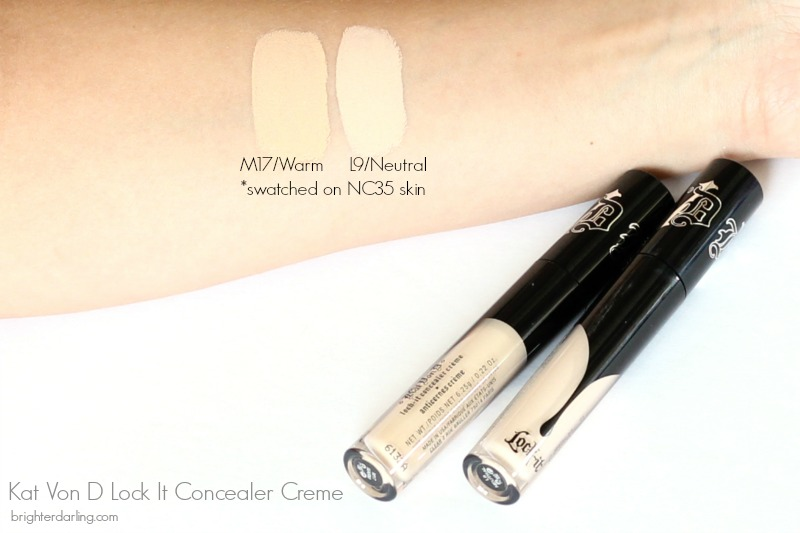 Kat Von D Lock It Concealer Creme Swatches on NC35 Skin | Kat Von D Lock It Concealer Shades M17 and L9