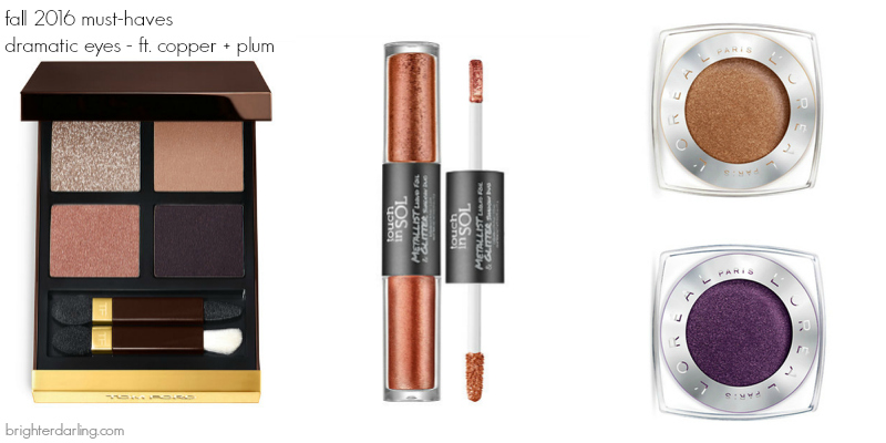 5 Items You Need This Fall | dramatic eyes | Tom Ford Disco Dust, Touch in Sol Margaret, Loreal Infallible Amber Rush and Smoldering Plum