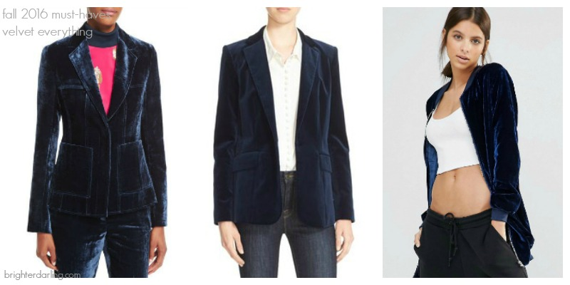 5 Items You Need This Fall | velvet everything | PHILIP LIM Blue Velvet Blazer, FRAME Sapphire Velvet Blazer, ASOS MissGuided Blue Velvet Longline Bomber Jacket