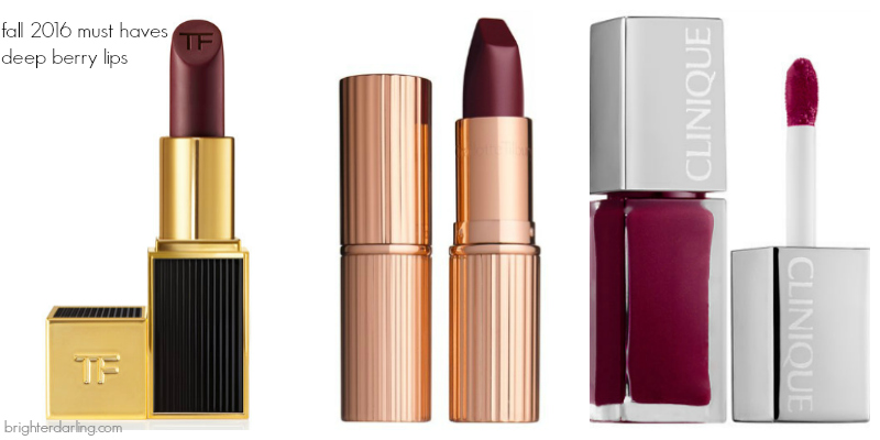 5 Items You Need This Fall | deep berry lips | Tom Ford Black Orchid, Charlotte Tilbury Glastonberry, Clinique Peace Pop