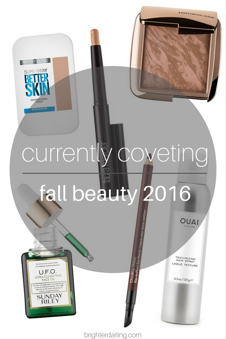 Currently Coveting | Fall Beauty Items 2016 | Maybelline Superstay Better Skin Powder Foundation, Laura Mercier Caviar Stick Copper, Hourglass Ambient Lighting Bronzer, Sunday Riley UFO Oil, Estee Lauder Doublewear Burgundy Suede, Ouai Texturizing Hair Spray