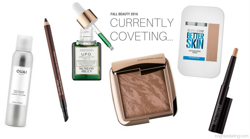 Currently Coveting | New Fall Beauty Products Wish List | Hourglass Ambient Lighting Bronzer, Maybelline Superstay Better Skin Powder Foundation, Sunday Riley UFO Ultra Clarifying Facial Oil, Laura Mercier Caviar Stick Copper, Estee Lauder Doublewear Stay In Place Eye Pencil Burgundy Suede, Ouai Texturizing Hair Spray